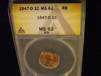 1947-D     PENNY       ANACS MINT STATE 62