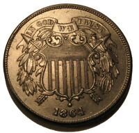 OLD US COINS 1864 CIVIL WAR TWO CENT PIECE HIGHGRADE BEAUTY