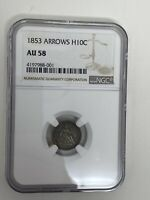 1853 LIBERTY SEATED HALF DIME NGC AU58  ARROWS AT DATE H10C