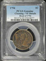 1794 HEAD OF 1794 FLOWING HAIR LARGE CENT PCGS VF DETAILS CL
