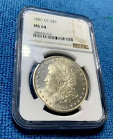 1881-CC MORGAN SILVER DOLLAR NGC MINT STATE 64  SUPERB EYE APPEAL