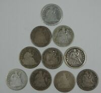 LOT X 10 DIFFERENT DATE OR MM SEATED SILVER DIMES CULL OR BETTER  1838 - 1891