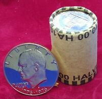 DEEP CAMEO IKE GEM TYPE I  UNOPENED ROLL OF HALVES MIGHT HAVE 90  SILVER COINS