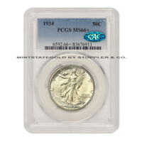 1934 50C SILVER WALKING LIBERTY HALF DOLLAR PCGS MINT STATE 66 CAC CERTIFIED GEM GRADED