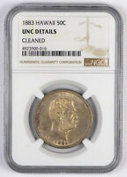 1883 HAWAII 50 CENTS   NGC UNC DETAILS   CLEANED