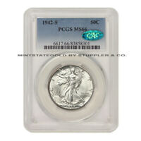 1942-S 50C SILVER WALKING LIBERTY PCGS MINT STATE 66 CAC CERTIFIED GEM GRADED HALF DOLLAR