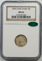 1838 LARGE STARS 10C NGC/CAC MINT STATE 65 SEATED LIBERTY DIME