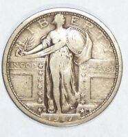 1917-D TYPE-1 STANDING LIBERTY QUARTER FINE SILVER 25-CENTS