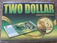 AUSTRALIA $2 LAST NOTE 1985 & FIRST COIN 1988 UNCIRCULATED P