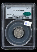 1875 THREE-CENT NICKEL. PCGS MINT STATE 66 CAC
