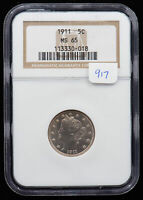 1911 LIBERTY HEAD NICKEL. NGC MINT STATE 65