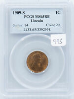 1909-S LINCOLN CENT. PCGS MINT STATE 65 RB