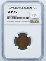 1909-S LINCOLN CENT. S/HORZ S VARIETY. NGC EF-45