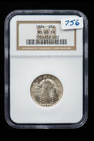 1924 STANDING QUARTER. NGC MINT STATE 65 FH