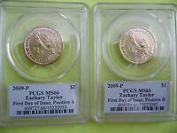 2009 P ZACHARY TAYLOR PCGS MINT STATE 66 FIRST DAY POS A&B 2-COIN BUSINESS DOLLAR SET