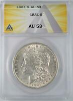 1881 MORGAN SILVER DOLLAR ANACS AU 53 STRONG STRIKE