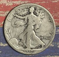 1917-S WALKING LIBERTY SILVER HALF DOLLAR. COLLECTOR COIN FOR YOUR COLLECTION