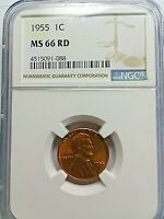 LINCOLN CENT  1955 NGC MINT STATE 66 RED