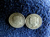 HIGH GRADE 1891 AND 1899 CANADIAN 5 CENTS SILVER COINS