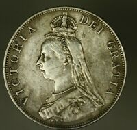 GREAT BRITAIN SILVER DOUBLE FLORIN 1887   ARABIC  ONCE WIPED VF   A1109