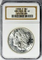 1888-S  MORGAN SILVER DOLLAR - NGC MINT STATE 62 - REDFIELD, DIE ROTATION, BEAUTIFUL