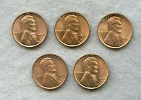 1944-S 1945-P & S 1942-D 1940-S  LINCOLN WHEAT CENT LOT  BU RED  5 COINS