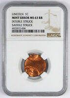 LINCOLN MEMORIAL CENT   NGC MINT ERROR MS 63 RB   DOUBLE STR