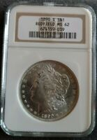 REDFIELD 1890-S MINT STATE 62 MORGAN SILVER DOLLAR W BOX, COA, BOOKLET
