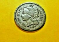1866 THREE CENT PIECE NICKEL --CIVIL WAR IS OVER, TIME TO REBUILD