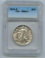 1941-S WALKING LIBERTY HALF DOLLAR ICG MINT STATE 64