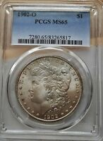 1902-O MORGAN SILVER DOLLAR PCGS MINT STATE 65  HIGH GRADE