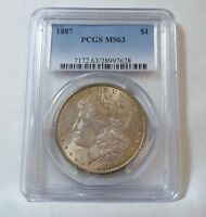 1887 MORGAN SILVER DOLLAR CERTIFIED PCGS MINT STATE 63 COOL OBVERSE TONING