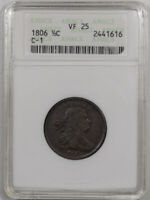 1806 DRAPED BUST HALF CENT - SMALL 6, NO STEMS - C-1 - ANACS VF-25