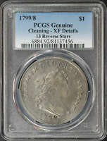 1799/8 13 REVERSE STARS DRAPED BUST DOLLAR PCGS EXTRA FINE  DETAILS CLEANING
