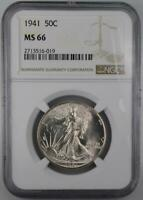 1941 WALKING LIBERTY HALF DOLLAR NGC MINT STATE 66 FROM ORIGINAL ROLL BLAST WHITE FROSTY