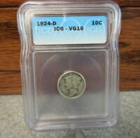 1924-D WINGED LIBERTY HEAD OR MERCURY DIME ICG : VG10