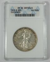 1933-S WALKING LIBERTY SILVER 50C ANACS EF 40 DETAILS  EARLY GENERATION HOLDER