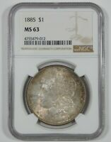 1885 MORGAN DOLLAR CERTIFIED NGC MINT STATE 63 SILVER DOLLAR WITH ANTIQUE ENVELOPE TONE