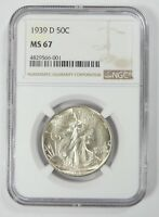 1939-D WALKING LIBERTY HALF DOLLAR CERTIFIED NGC MINT STATE 67 SILVER 50-CENTS