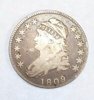 1809 CAPPED BUST/LETTERED EDGE HALF DOLLAR FINE SILVER 50-CENTS