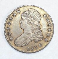 1819/8 SMALL 9/8 CAPPED BUST/LETTERED EDGE HALF DOLLAR EXTRA FINE SILVER 50C