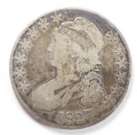 BARGAIN 1827 CAPPED BUST/LETTERED EDGE HALF DOLLAR  GOOD SILVER 50-CENTS