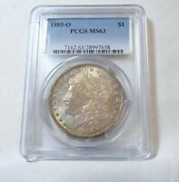 1885-O MORGAN SILVER DOLLAR CERTIFIED PCGS MINT STATE 63 COOL TONING