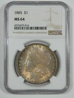 1885 MORGAN DOLLAR CERTIFIED NGC MINT STATE 64 SILVER DOLLAR  PRETTY ANTIQUE TONE