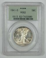 1941-S WALKING LIBERTY SILVER HALF DOLLAR PCGS MINT STATE 62  OGH OLD GREEN HOLDER