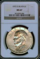 1972-S SILVER EISENHOWER DOLLAR GRADE MINT STATE 67 BY NGC