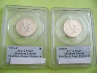 2010-P ABRAHAM LINCOLN PCGS MINT STATE 67 FDI POSITION A&B BUSINESS DOLLAR 2-COIN SET