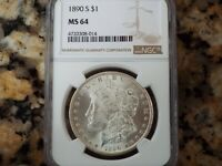 $265 VALUE  1890-S MORGAN SILVER DOLLAR, NGC MINT STATE 64