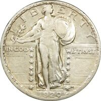 1920 25C STANDING LIBERTY SILVER QUARTER VF  OLD TYPE COIN MONEY B