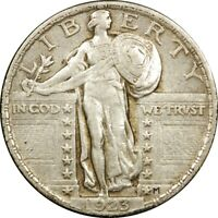 1923 25C STANDING LIBERTY SILVER QUARTER EXTRA FINE -AU  OLD TYPE COIN MONEY